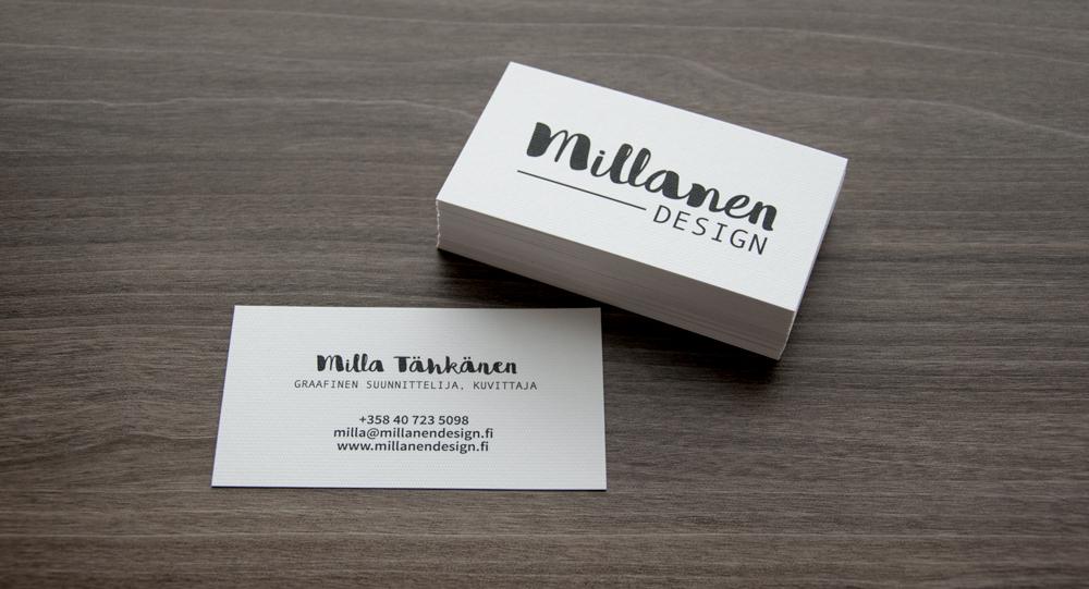 Käyntikortit pöydällä Millanen Design