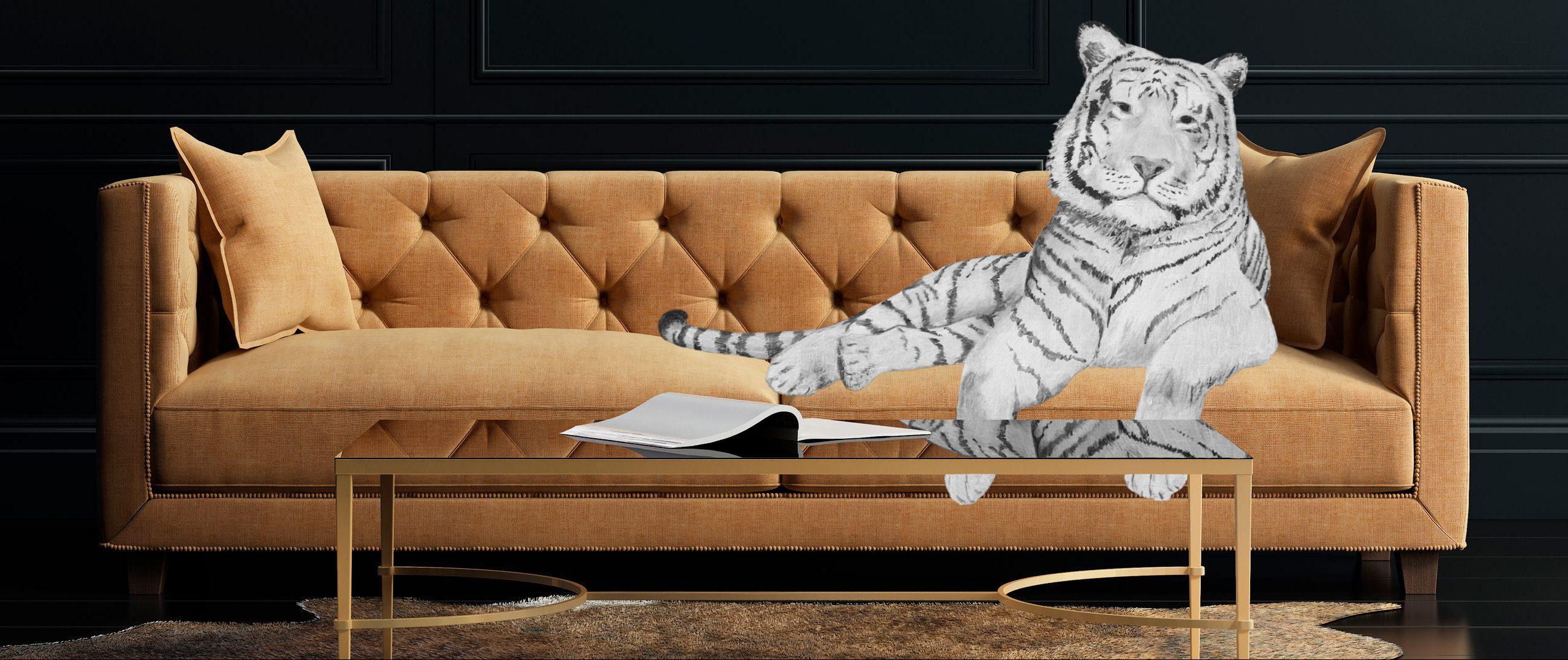 Kuvituskuva tiikeristä makoilemassa sohvalla