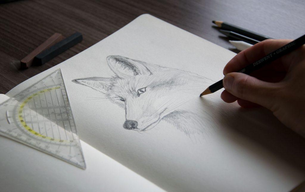 Kuva, jossa Milla Tähkänen on piirtämässä kuvitusta ketusta